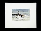 view Deep Snow Topaz 1943 digital asset: Watercolor painting by Akio Ujihara, Deep Snow - Topaz, 1944