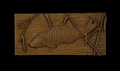 view Wood carving, fish and plants digital asset: Wood carving by Matsumoto Mantaro, fish and plants