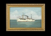 view Oil Painting of Cargo & Passenger Ship HIBUERAS, Early 20th Century digital asset number 1