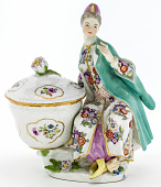 view Meissen figure of a woman in Turkish dress from a plat de ménage digital asset number 1