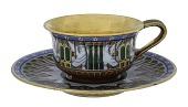 view Sèvres porcelain cup and saucer digital asset: Sevres porcelain cup and saucer, Egyptian motifs, 1813-1814