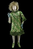view Dress worn by Phyllis Diller during 1966 USO Christmas Tour digital asset: Costume worn by Phyllis Diller during comedy routine in Vietnam on a USO Christmas tour with Bob Hope, 1967