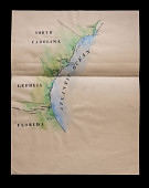 """view """"Map of South Carolina, Georgia, and Florida"""" sketch from <i>The True Story of Glory Continues</i> digital asset: Sketch, Map of South Carolina, Georgia, and Florida"""