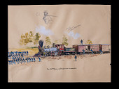 """view """"The 54th Mass. Pulling Train of Wounded"""" sketch from <i>The True Story of Glory Continues</i> digital asset: Sketch, The 54th Mass. Pulling Train of Wounded"""