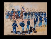 """view """"Arrival of 54th at Olustee, Florida"""" sketch in <i>The True Story of Glory Continues</i> digital asset: Sketch, Arrival of 54th at Olustee, Florida"""