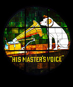 """view Stained glass window with RCA """"Nipper"""" digital asset: Window, Stained Glass, with RCA 'Nipper'"""