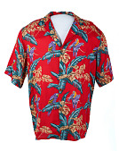 view Hawaiian shirt worn by Tom Selleck on <i>Magnum P.I.</i> digital asset: Shirt, Hawaiian shirt worn by Tom Selleck on Magnum P.I.