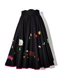 view Black Felt Circle Skirt with Appliques digital asset number 1