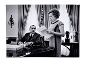 view President Nixon and Rose Mary Woods digital asset: Photograph, President Nixon and Rose Mary Woods