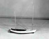 view Boat Model, Chincoteague or Sinepuxent Bay Skiff, 1905 digital asset: Rigged Model of Chincoteague Skiff