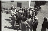 view Braceros Receiving Documents digital asset: An official distributes documents to braceros in front of the Horseshoe Club in Stockton, California.