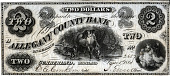 view 2 Dollars, Allegany County Bank, Maryland, United States, 1861 digital asset number 1
