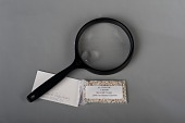 view Magnifying glass and chads, Broward County, Florida, 2000 digital asset number 1