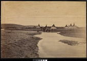 view Indian encampment near Fort Laramie, Wyoming digital asset: [P10119] View of individuals standing at a body of water in front of Lakota [?] tipis near Fort Laramie, Wyoming, during the Fort Laramie Treaty negotiations