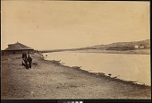 view Men posing near Spotted Tail's [Sicangu Lakota (Brulé Sioux)] camp on the banks of the Laramie River digital asset: [P10121] Spotted Tail's [Sicangu Lakota (Brulé Sioux)] camp on the banks of the Laramie River, near Fort Laramie, Wyoming