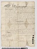 view Land deed to Stephanus van Cortlandt, 1683 (Anthony's Nose, NY region) digital asset: Land deed to Stephanus van Cortlandt, 1683 (Anthony's Nose, NY region)