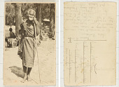 view [Elderly Bira woman with lip plate and staff] digital asset: [Elderly Bira woman with lip plate and staff]