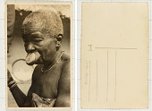 view [Elderly Bira woman with lip plate] digital asset: [Elderly Bira woman with lip plate]