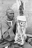 view Vertical Chi wara headdress mounted on basketry cap, Bougouni village, Mali digital asset: Vertical Chi wara headdress mounted on basketry cap, Bougouni village, Mali
