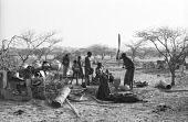 view Domestic scenes in Woodabe woman's shelter and domain, Chadawanka village, Niger, [negative] digital asset number 1