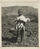 view Boy holding lamb, Natal, South Africa digital asset: Boy holding lamb, Natal, South Africa