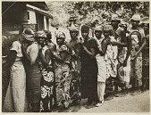 view Wives of miners waiting in line for food rations, Elisabethville, Belgian Congo digital asset: Wives of miners waiting in line for food rations, Elisabethville, Belgian Congo