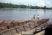 view Transportation of pottery on canoes at Ndibe Beach, on the Cross River, Nigeria digital asset: Transportation of pottery on canoes at Ndibe Beach, on the Cross River, Nigeria
