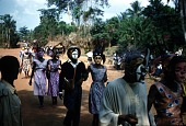 view Couple masqueraders wearing mma ji, nne mgbo and ibibio masks in the njenji parade, Amuro village, Afikpo Village-Group, Nigeria digital asset: Couple masqueraders wearing mma ji, nne mgbo and ibibio masks in the njenji parade, Amuro village, Afikpo Village-Group, Nigeria