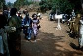 view Couple masqueraders wearing mma ji and ibibio masks in the njenji parade, Amuro village, Afikpo Village-Group, Nigeria digital asset: Couple masqueraders wearing mma ji and ibibio masks in the njenji parade, Amuro village, Afikpo Village-Group, Nigeria