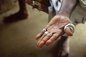 view Silver rings worn on left hand fingers of Alimamy Salifu Mansaray, Chief of Wara Wara Bafodea Chiefdom, Bafodea Town, Sierra Leone digital asset: Silver rings worn on left hand fingers of Alimamy Salifu Mansaray, Chief of Wara Wara Bafodea Chiefdom, Bafodea Town, Sierra Leone