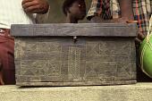 view Decorated wood storage box belonging to Mami Pati Kamara, Bafodea Town, Sierra Leone digital asset: Decorated wood storage box belonging to Mami Pati Kamara, Bafodea Town, Sierra Leone