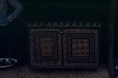 view Decorated wood storage box belonging to Tala Kamara, Bafodea Town, Sierra Leone digital asset: Decorated wood storage box belonging to Tala Kamara, Bafodea Town, Sierra Leone