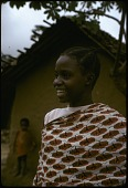 view Young Lega woman with elaborate hairstyle, west of Kingulube village, Congo (Democratic Republic) digital asset: Young Lega woman with elaborate hairstyle, west of Kingulube village, Congo (Democratic Republic)