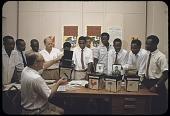 view Polling agents getting instructions for the December 12, 1959 federal elections, Lagos, Nigeria digital asset: Polling agents getting instructions for the December 12, 1959 federal elections, Lagos, Nigeria