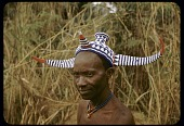 view Pende chief wearing traditional bicorn headdress, Kakabola village, Congo (Democratic Republic) digital asset: Pende chief wearing traditional bicorn headdress, Kakabola village, Congo (Democratic Republic)