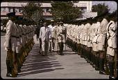 "view President ""Mzee"" Jomo Kenyatta reviewing the troops, Mombasa, Kenya digital asset: President ""Mzee"" Jomo Kenyatta reviewing the troops, Mombasa, Kenya"