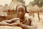 view Bamana woman with traditional hairstyle, Bin village, Mali digital asset: Bamana woman with traditional hairstyle, Bin village, Mali