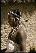 view Fulbe woman wearing elaborate headband and colorful beaded necklaces, Zaranda village, east of Jos, Nigeria digital asset: Fulbe woman wearing elaborate headband and colorful beaded necklaces, Zaranda village, east of Jos, Nigeria