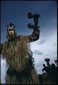 view Dyoboli dancer wearing metal-covered masks, Cercle of San, Mali digital asset: Dyoboli dancer wearing metal-covered masks, Cercle of San, Mali