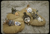 view Display of Yaka masks, near Kasongo Lunda, Congo (Democratic Republic) digital asset: Display of Yaka masks, near Kasongo Lunda, Congo (Democratic Republic)