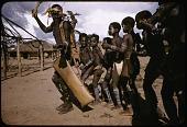 view Dakpa horn ensemble accompanying boys during their initiaton rites, Ubangi-Shari region, Central African Republic digital asset: Dakpa horn ensemble accompanying boys during their initiaton rites, Ubangi-Shari region, Central African Republic