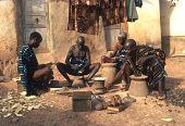view Baule woodcarvers at work, Yagolikro village, Ivory Coast digital asset: Baule woodcarvers at work, Yagolikro village, Ivory Coast