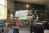 view Ben Enwonwu in his art studio in Ikoyi, suburb of Lagos, Nigeria digital asset: Ben Enwonwu in his art studio in Ikoyi, suburb of Lagos, Nigeria