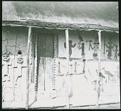 view In the Chokwe country-side Drawings adorning the exterior wall of a house digital asset: In the Chokwe country-side Drawings adorning the exterior wall of a house