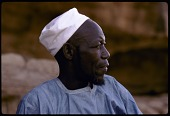 view Chief Ogabara wearing white conical hat, Ogol du Haut village, Mali digital asset: Chief Ogabara wearing white conical hat, Ogol du Haut village, Mali