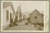 view Main Street of Village, Houses Lining Street, One with Shingled Turret Roof and Hanging Full-Length Figures on Walls and Roof; People Nearby on Wood Walkway; Totem Poles in Background n.d digital asset number 1