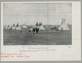 view View of Camp Showing Tipis, Native? Men, Dogs and Horses digital asset: View of Camp Showing Tipis, Native? Men, Dogs and Horses
