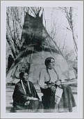view Sitting Bull and Travoriet, his Wife, in Native Dress Outside Tipi 1882 digital asset number 1