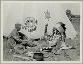 view Grey Whirlwind, in Native Dress, Talking to Ernest Thompson Seton, Non-Native Man, Sign Language 16 JUL 1927 digital asset number 1