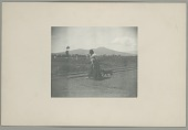view Woman in Native Dress, Carrying Goods, and with Dog by Railroad Tracks? n.d digital asset number 1
